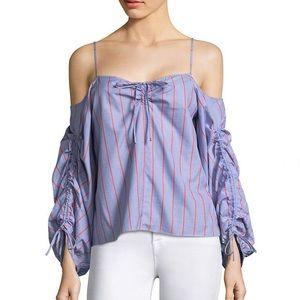 NWT Parker Marden Stripe Off-The-Shoulder Blouse
